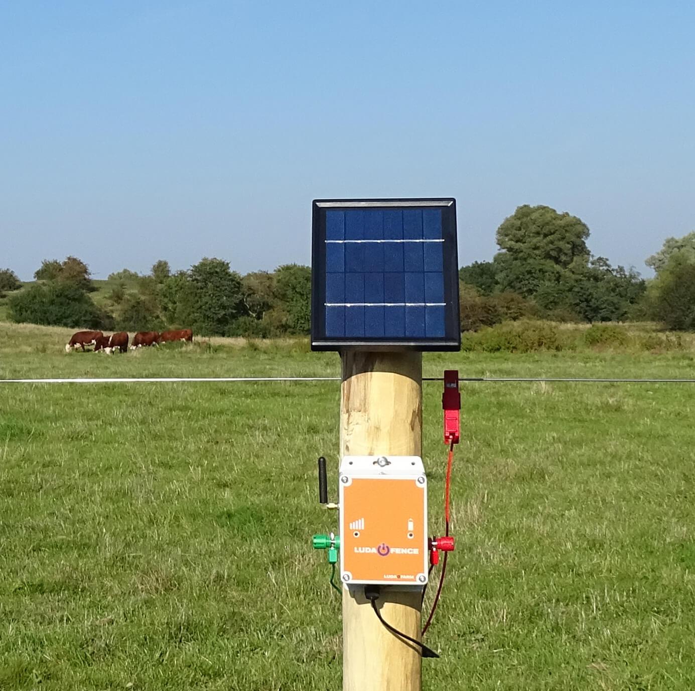 Et solpanel sørger for opladningen af en hegnsalarm