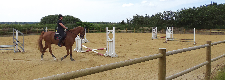 En rytter fører sin hest rundt på en ridebane med spring. I forgrunden ses i flot og robust hestehegn i træ | Poda Hegn