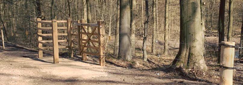 En HandyGate kørestolssluse er blevet monteret ved et shelter i en skov. Slusen giver bevægelseshæmmede adgang til indhegnede naturområder | Poda Hegn
