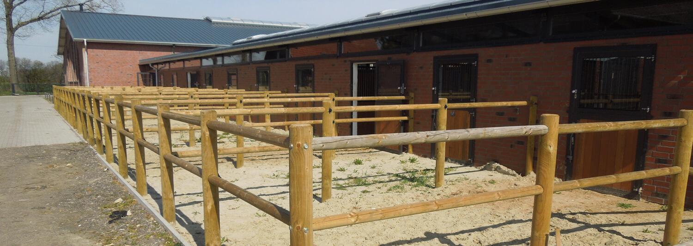 En rad dörrar i stallets vägg ger hästarna tillgång till sin egen lilla utomhusfålla. Ett Texas-läktstängsel avgränsar fållorna från varandra | Poda Stängsel