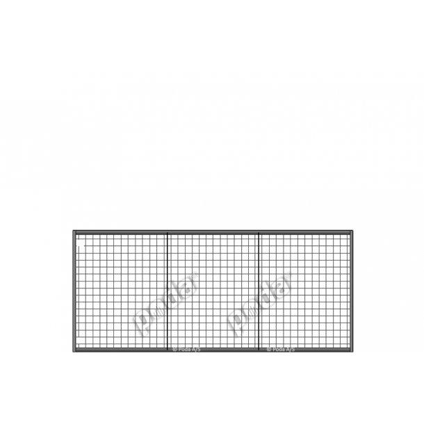 Letvægtslåge m. gitter H130xL300cm