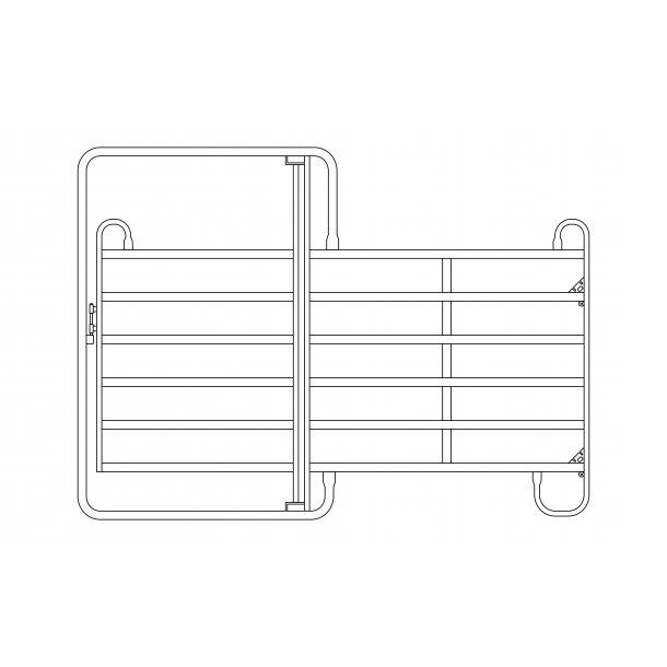 Fångstgrind till häst/kreatur m/dörr 300x170 cm